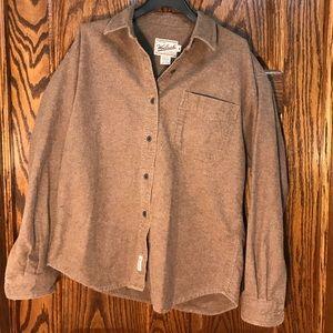 Vintage WOOLRICH Brown Cotton Long Sleeve. Medium